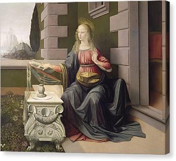 Virgin Mary, From The Annunciation Canvas Print by Leonardo Da Vinci