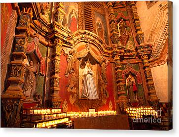 Virgin Mary Statue Candles Mission San Xavier Del Bac Canvas Print by Thomas R Fletcher