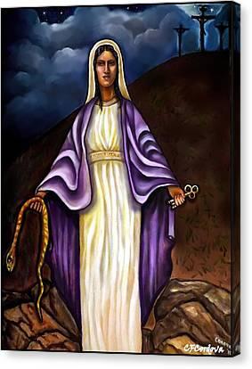 Virgin Mary- The Protector Canvas Print by Carmen Cordova