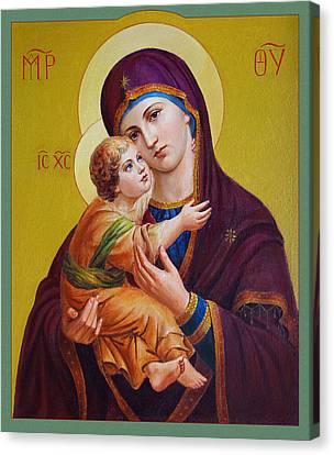 Canvas Print featuring the painting Virgin Of Silver Spring - Theotokos by Svitozar Nenyuk
