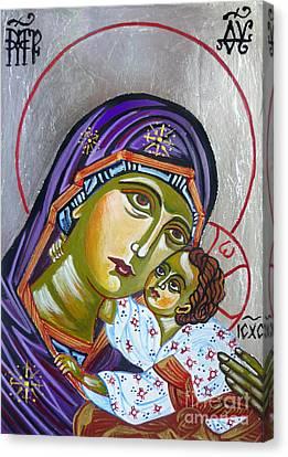 Virgin Of Tenderness Eleusa Canvas Print by Ryszard Sleczka