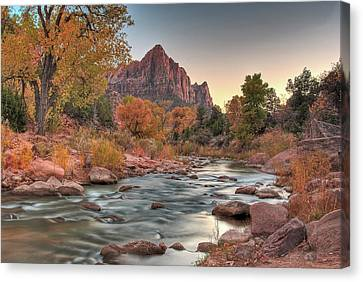 Virgin River And The Watchman Canvas Print
