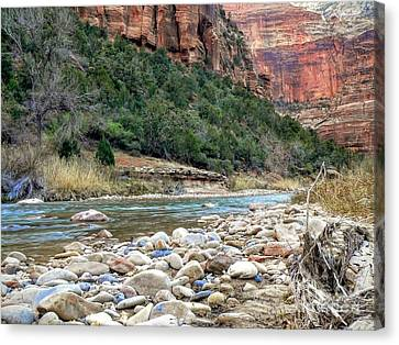 Virgin River In Zion Canyon Canvas Print by Rincon Road Photography By Ben Petersen
