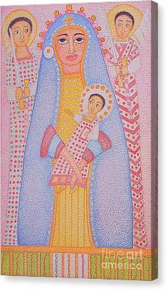 Virgin Saint Mary And Her Son Canvas Print by Assumpta Tafari Tafrow Neo-Impressionist Works on Paper