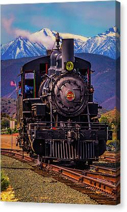 Snow Flag Canvas Print - Virgina Truckee Locomotive by Garry Gay