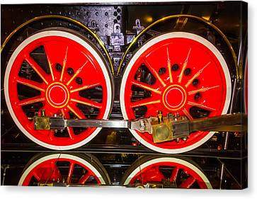 Virginia And Truckee Red Train Wheels Canvas Print by Garry Gay