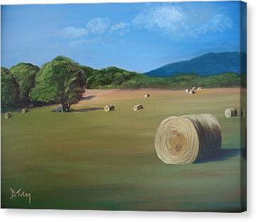 Canvas Print featuring the painting Virginia Hay Bales by Donna Tuten