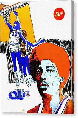 Julius Erving Canvas Print - Virginia Squires Vintage Program by John Farr