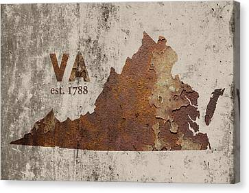 Cement Canvas Print - Virginia State Map Industrial Rusted Metal On Cement Wall With Founding Date Series 028 by Design Turnpike