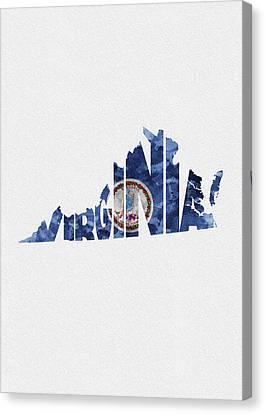 Hamptons Canvas Print - Virginia Typographic Map Flag by Inspirowl Design