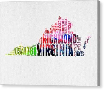 Virginia Watercolor Word Map Canvas Print by Naxart Studio