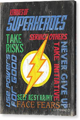 Vintage Sign Canvas Print - Virtues Of A Superhero 2 by Debbie DeWitt