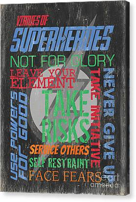 Virtues Of Superheroes Canvas Print by Debbie DeWitt