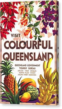Visit Colorful Queensland - Vintage Poster Restored Canvas Print