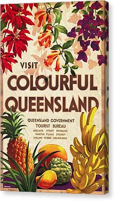 Visit Colorful Queensland - Vintage Poster Vintagelized Canvas Print