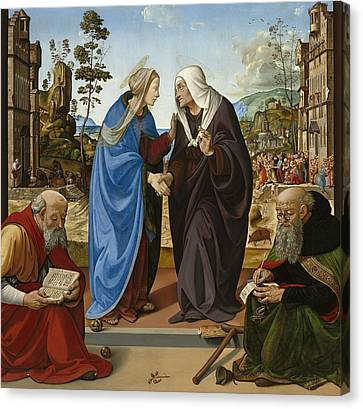 Visitation With Saint Nicholas And Saint Anthony Canvas Print by Piero di Cosimo