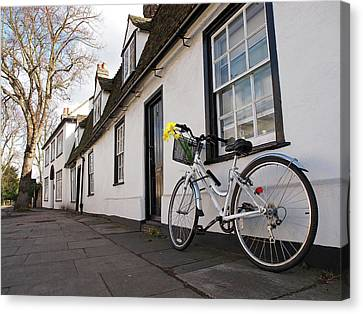 Bicycle With Flowers Canvas Print - Visiting Friends - Bicycles In Cambridge by Gill Billington