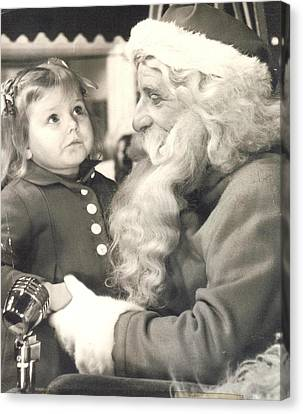 Visiting Santa For The First Time Canvas Print by Judyann Matthews