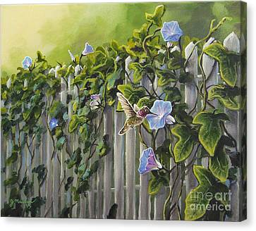 Visiting The Morning Glories Canvas Print by Joe Mandrick