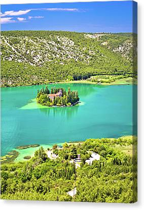 Visovac Lake Island Monastery Aerial View Canvas Print by Brch Photography