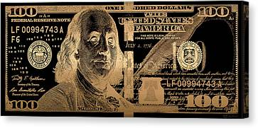 One Hundred Us Dollar Bill - $100 Usd In Gold On Black Canvas Print by Serge Averbukh