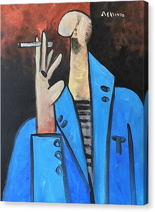 Vitae The Smoker In A Blue Blazer  Canvas Print by Mark M Mellon