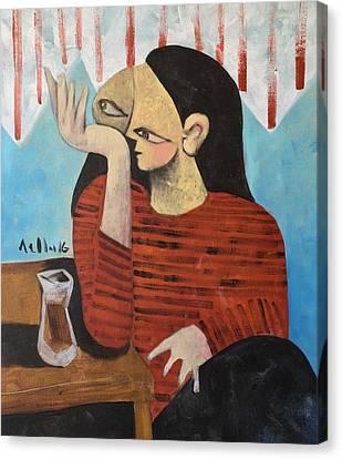 Vitae Woman Drinking Tea Canvas Print by Mark M Mellon