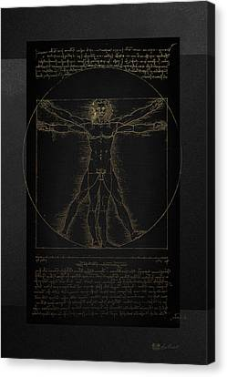 Vitruvian Man By Leonardo Da Vinci In Gold On Black Canvas Print by Serge Averbukh