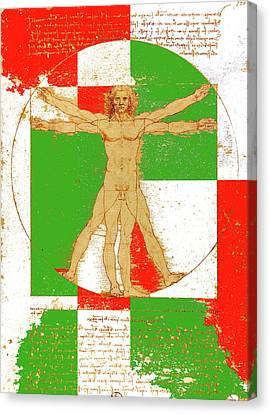 Vitruvian Man In Color Canvas Print by Vadim Goodwill