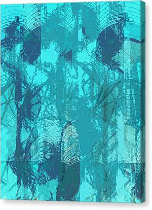 Vivid Blue Seafoam Nyc Water Towers  Canvas Print by Stan  Magnan