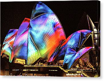 Canvas Print featuring the photograph Vivid Festival, Sydney by Wallaroo Images