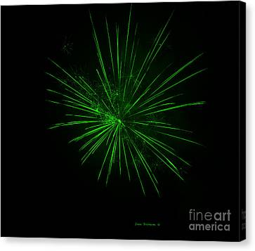 Vivid Green Fireworks Explosion Canvas Print by John Stephens