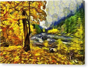 Fall Landscape Canvas Print - Vivid Pipeline Trail by Mark Kiver
