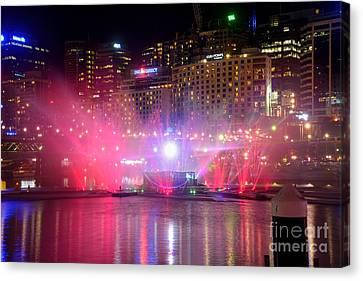 Vivid Sydney By Kaye Menner - Vivid Aquatique Pink And Blue Canvas Print by Kaye Menner