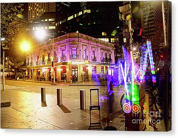 Canvas Print featuring the photograph Vivid Sydney Circular Quay By Kaye Menner by Kaye Menner