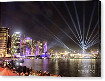 Canvas Print featuring the photograph Vivid Sydney Skyline By Kaye Menner by Kaye Menner