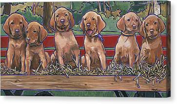 Canvas Print featuring the painting Vizsla Pups by Nadi Spencer