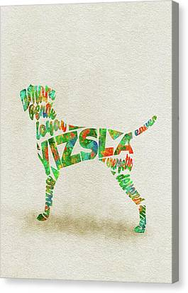 Canvas Print featuring the painting Vizsla Watercolor Painting / Typographic Art by Inspirowl Design