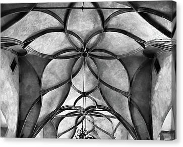 Vladislav Hall Architectural Detail Bw Canvas Print