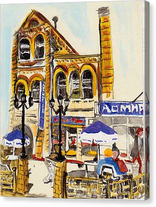 Canvas Print featuring the painting Vladivostok Train Station by Julie Todd-Cundiff