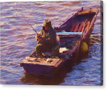 Vltava Fishing Canvas Print by Shawn Wallwork