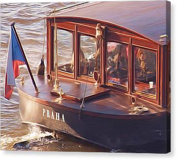 Vltava River Boat Canvas Print by Shawn Wallwork