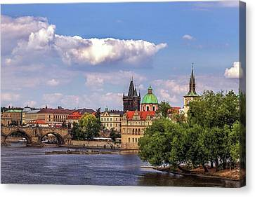 Vltava River, Smetana Museum And Novotneho Lavka In Background Canvas Print by Doc Braham