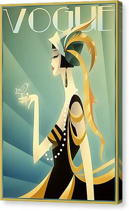 Canvas Print featuring the digital art Vogue - Bird On Hand by Chuck Staley