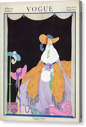 1916 Canvas Print - Vogue Cover Featuring A Woman Wearing A Purple by Helen Dryden
