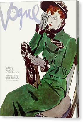 Clutch Bag Canvas Print - Vogue Cover Illustration Of A Woman In A Green by Pierre Mourgue