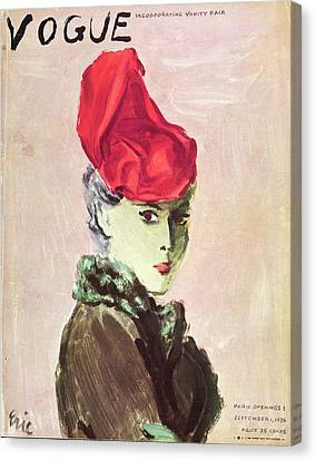 Vogue Cover Illustration Of A Woman Wearing A Red Canvas Print