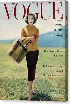 Vogue Magazine Cover Featuring Model Va Taylor Canvas Print by Karen Radkai