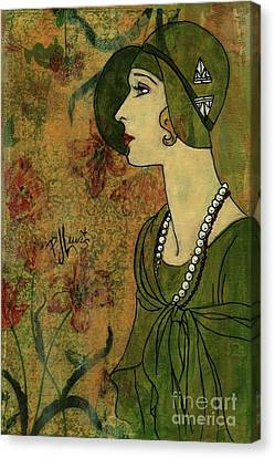 Canvas Print featuring the painting Vogue Twenties by P J Lewis