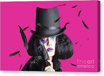 Vogue Woman In Black Costume Canvas Print by Jorgo Photography - Wall Art Gallery